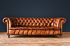 French Chesterfield Salon leather set Couch and Club chairs