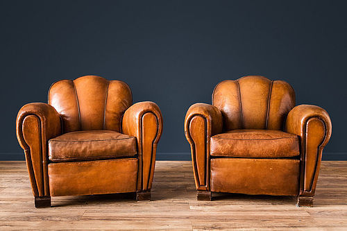 Jura Trefle (Scalloped back)French leather Club chairs