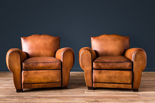Marseilles Mustache French leather Club chairs