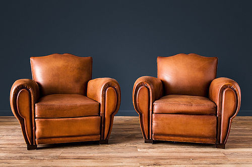 Mustache Caramel Cormeilles French leather Club chairs