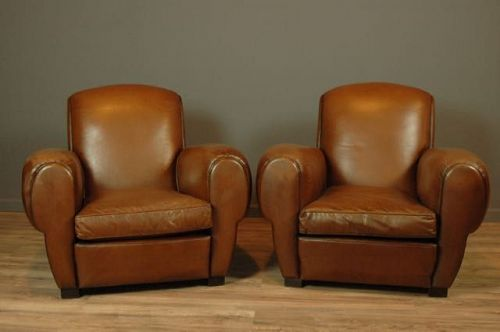 French Club Chairs Epernay Rollbak Cognac