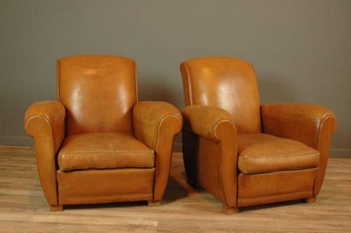 Trocadero Slope Cognac Pair Vintage French Club chairs