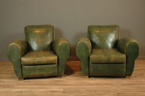 Colmar Green Vintage leather French Club Chairs