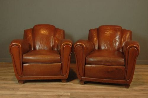 Chatou Great Lounge Dark Cognac Vintage French club chairs
