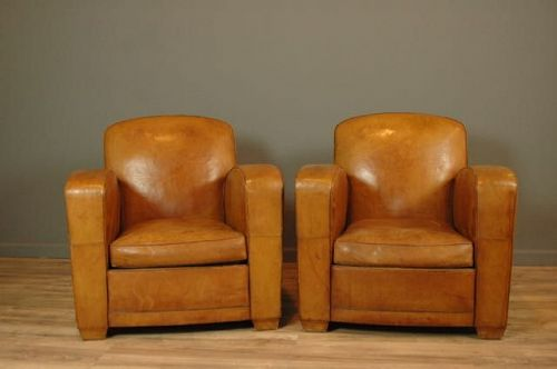 Belfort Paquebot pair Vintage french club chairs