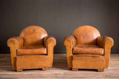 Bern Cinema Clair Pair of French leather Club chairs