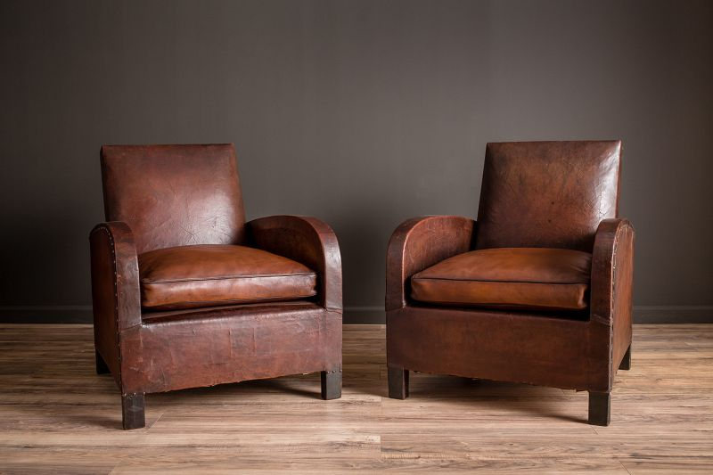 Brest Square pair Vintage Frenc Club chairs