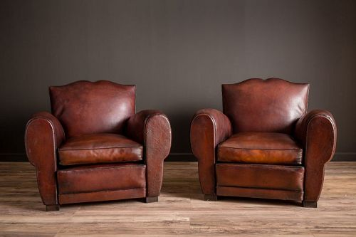 Royan Mustache Pair of French Club chairs  SOLD