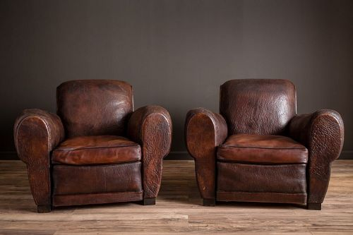 BiarritzChocolate Rollback Pair of French Club Chairs