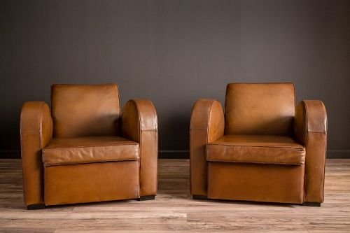 Streamline Classic milk chocolate brown French Club chair pair