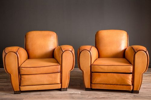 Rambouillet Rollback pair French Club chairs