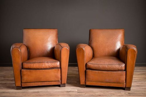 Squareback La France French leather Club Chairs