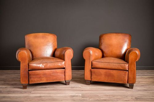 Library Giverny Cognac Pair of Leather French Club Chairs SOLD
