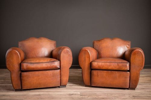 Classic Rambouillet Mustache Pair of Leather French Club Chairs