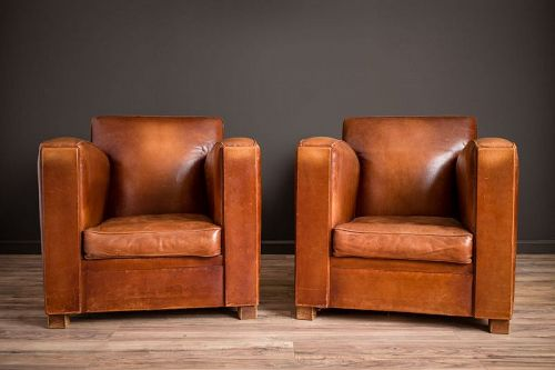 Christophe Paquebot Pair of Leather French Club Chairs