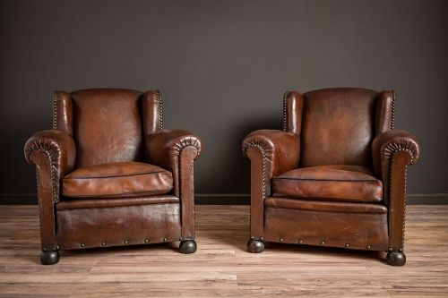 The Kings Wingback Pair of Leather French Club Chairs