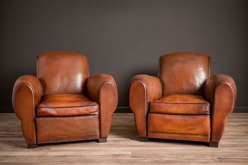 Chatou Rollback Pair of Leather French Club Chairs