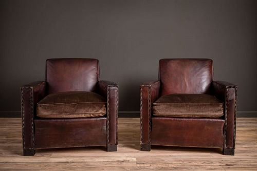 St Tropez Dark Lounge Square Pair of Leather French Club Chairs