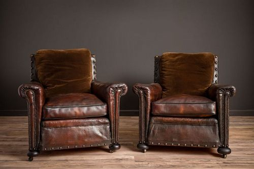 Ile de St Louis Nailed Square Pair of Leather French Club Chairs