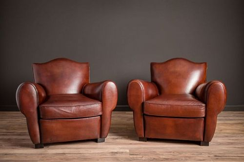 Sweet Petite Burgundy Mustache Pair of Leather French Club Chairs