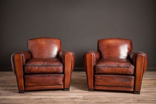 St Emilion Library Fonce Pair of Leather French Club Chairs