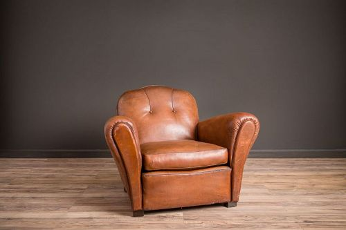 St Ouen Trefle Solo Leather French Club Chairs