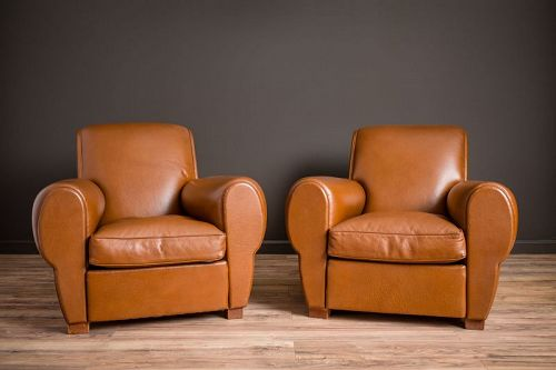 Peu de Couchon Rollback Pair of Leather French Club Chairs