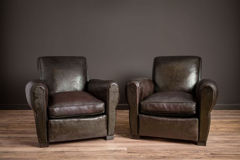 Monmarte Slopeback Fonce Pair of Leather French Club Chairs