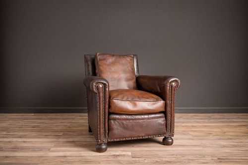 The Relaxer Nailed Solo Leather French Club Chairs