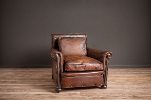 Executive Nailed Dark Solo Leather French Club Chairs=