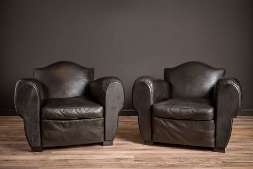 Special Gendarme De La Nuit Pair of Leather French Club Chairs