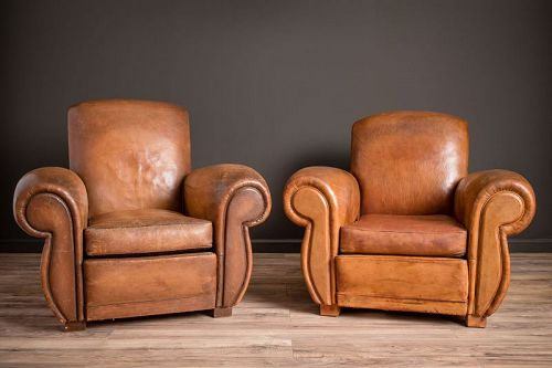 Giant Flare Rollback Pair of Leather French Club Chairs