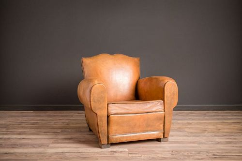 Belfort Mustache Solo Leather French Club Chairs