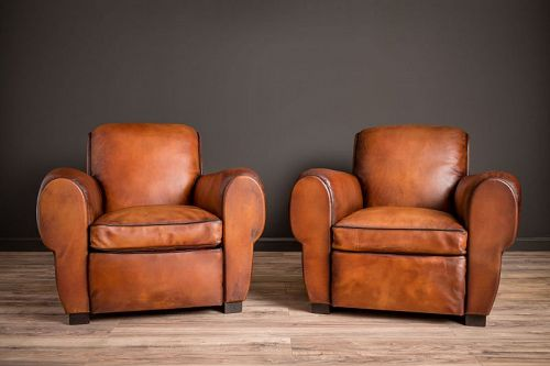 Liseaux Giant Dark Rollback Pair of Leather French Club Chairs SOLD