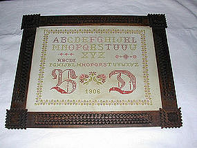 French Needlepoint Sampler Folk Art Frame