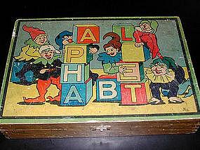 French Wooden Alphabet Blocks 1920's-30's