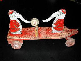 French Wooden Pull Toy Elephants 1930's