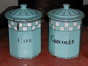 French Enamelware Octagonal Canisters Blue & White
