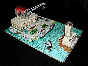 French Litho Tin Toy Maritime Station Boatyard