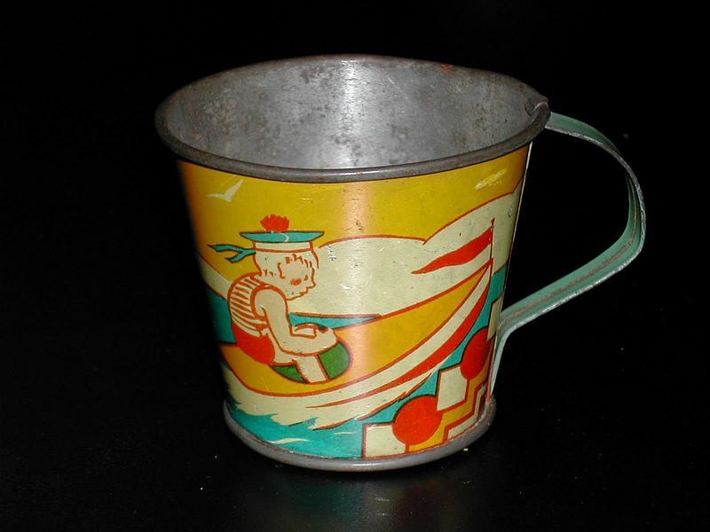 Vintage French Tin Litho Toy Cup Water-skiier & Boat