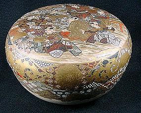 Late Meiji Satsuma Covered Bowl with Karako Scene