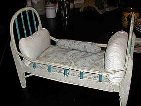 Vintage French Doll Bed / Crib with Mattress & Pillows