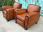 French Leather Club Chairs - Large Deco Caramel Pair