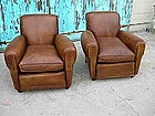 French Leather Club Chairs - Refurbished Rollback Pair
