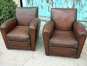 Vintage French Leather Club Chairs - Tours Pair