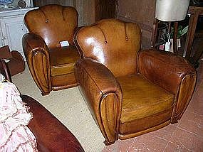 Vintage French Leather Club Chairs  Button Back Caramel
