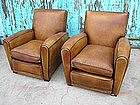 French Leather Club Chairs - Refurbished Nicolai Pair