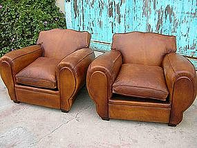 Refurbished French Leather Club Chairs Giant Moustache