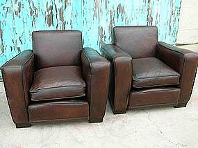 French Leather Club Chairs - Chocolate Squareback Pair