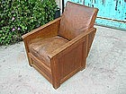 Vintage French Leather Club Chair - Arts & Crafts Style